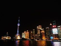pearl of the orient at night cityscape, china, shanghai