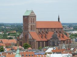 roof view of St. Nicholas\' Church in old town, germany, wismar