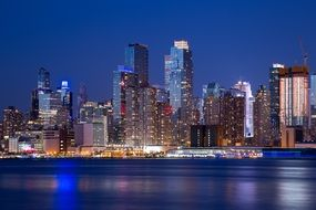 Cityscape of night manhattan