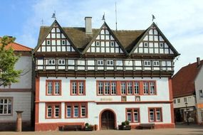 town hall, old truss building, germany, blomberg