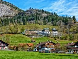 village in valley at mountains, germany, bavaria