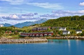 traditional colorful wooden houses on mountain side at fjord, beautiful summer landscape, norway
