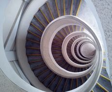 spiral staircase in modern tower building