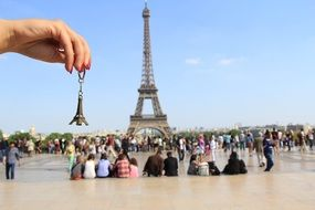small big eiffel tower people paris france europe