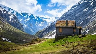 rustic wooden cabin in mountains landscape