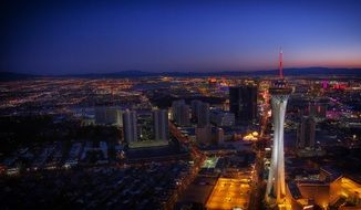 Stratosphere Tower in night cityscape, usa, nevada, las vegas