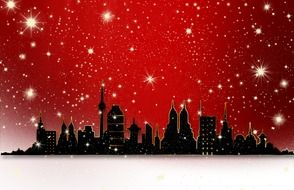 golden stars and city silhouette at red background, digital art