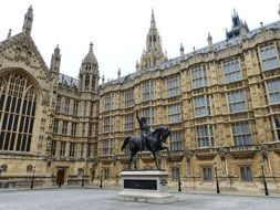 King Richard I equestrian statue at Westminster Palace, uk, england, london