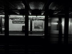 dark platform of subway station