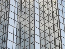 geometric pattern, reflections on glass facade of skyscraper, usa, texas, dallas