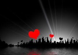 red and black heart forms above city silhouette, collage