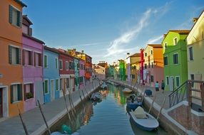 colorful houses at river, italy, venice, burano