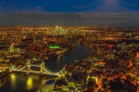 panoramic view of london city at night, uk, england