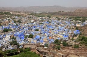 top view of blue city in desert, india, rajasthan, jodhpur