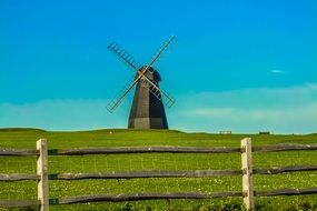 england gray windmill green grass day view