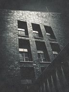 brick facade at night