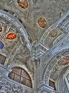 ornate ceiling of capuchin monastery, fragment