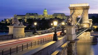 chain bridge across danube river at dusk, hungary, budapest