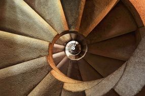grey stone spiral staircase