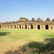 ancient elephant stables, india, hampi