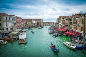 boats at canal grande waterfront, italy, venice