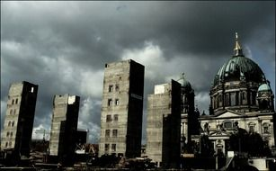 palace of the republic ruins at dome, germany, berlin