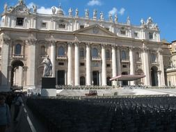 seats on square and tribune at st peter's basilica, italy, rome, vatican