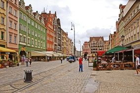 street cafe in old town, poland, wroclaw