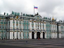 winter palace at cloudy day, russia, st petersburg