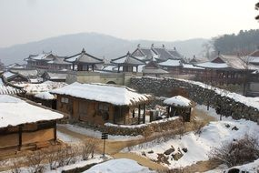 korean traditional village winter snow view