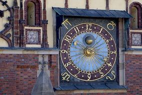 antique Astronomical Clock at the Town Hall, poland, wroclaw