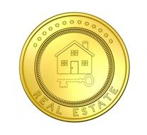 real estate, round golden icon