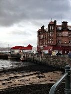 old waterfront in bad weather, uk, scotland, oban