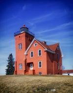 agate bay lighthouse at sky, usa, minnesota