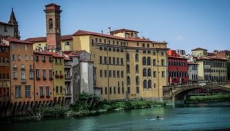 ponte vecchio at colorful waterfront, italy, florence