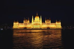 night view of parliament building at danube river, hungary, budapest