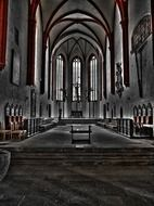 altar in gothic church interior, germany, wurzen