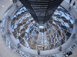glass and steel construction in reichstag dome, germany, berlin