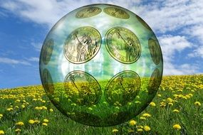 Symbol of environmental protection on a background of yellow meadow with dandelions and clouds