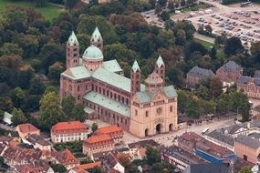 aerial view of Imperial Cathedral Basilica of the Assumption and St Stephen, germany, speyer