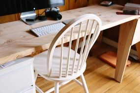 wood chair desk office business