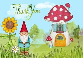 thank you, greeting card with gnome and mushrooms