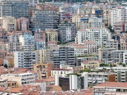 roof view of city apartments, france, monaco