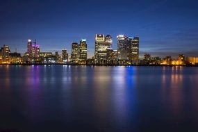 canary wharf, business district at night, uk, england, london
