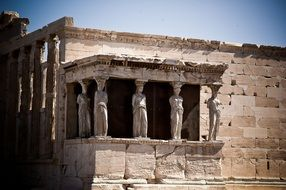 Ancient Caryatids statues in Greece