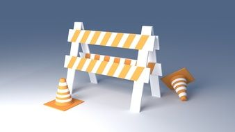 web site under construction, error 404, icon with traffic security cones and barrier