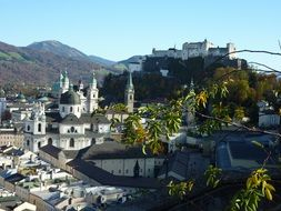 top view of old town with hohensalzburg fortress on mountain, austria, salzburg