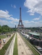 people walking in view of eiffel tower, france, paris