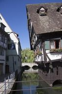 crooked old truss house at water, germany, ulm