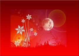 snowflakes and full moon above city, red christmas greeting card